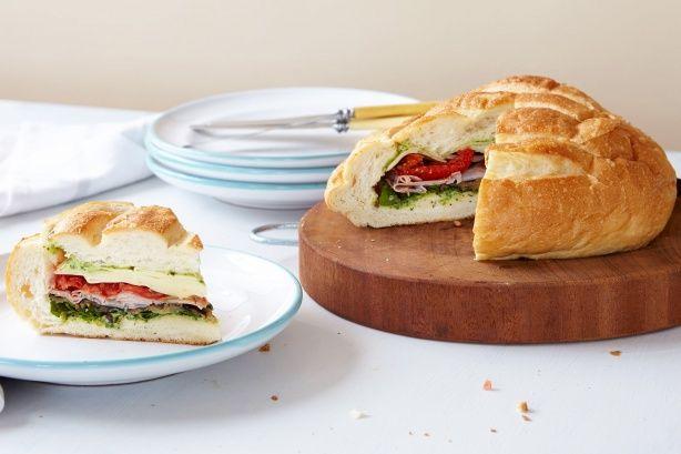 Antipasto picnic loaf with basil mayo