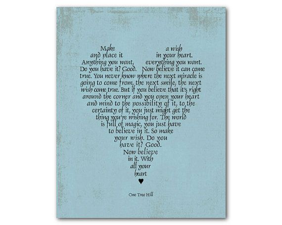 Make A Wish And Place It In Your Heart Inspirational Print