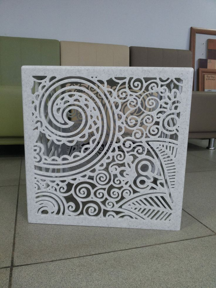 CNC cut deco panel in Corian Cameo White. Solid Surface ...