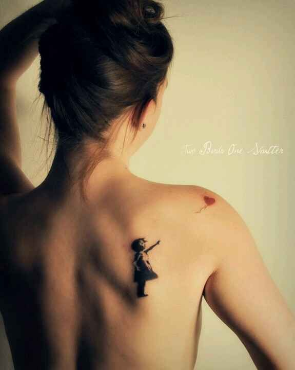 41 Incredible Tattoos Inspired By Works Of Art... I love the Banksy girl with a red balloon. Next piece?