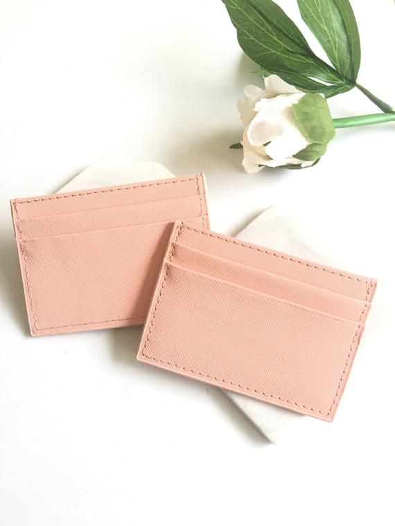 Personalized leather credit card holder Card holder Slim leather wallet Credit card sleeve Mini wallet Leather card case for women – Peach