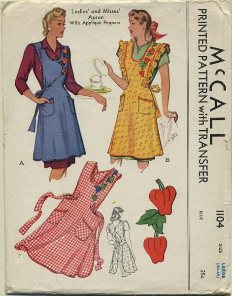 Vintage Apron Sewing Pattern | McCall 1104 | Year 1944 | Bust 40-42