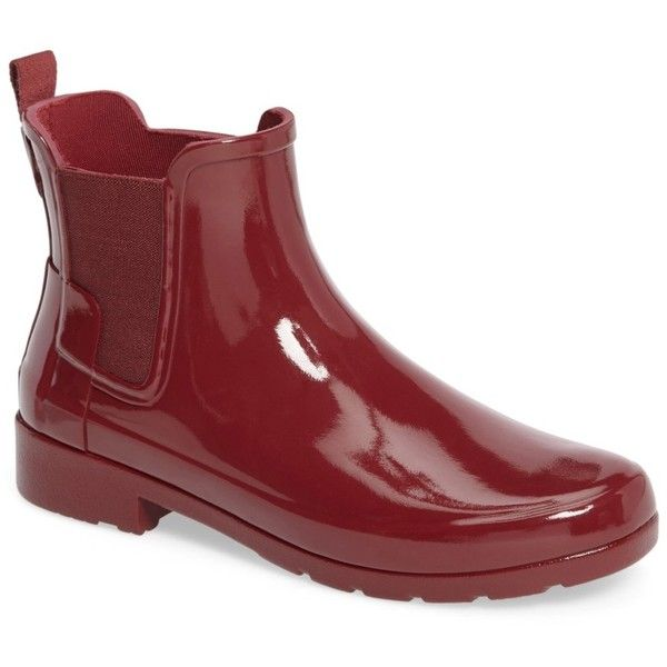 Hunter 'Original Refined' Chelsea Rain Boot (Women) ($70) ❤ liked on Polyvore featuring shoes, boots, damson, lined rubber boots, rubber boots, slip on rubber boots, platform boots and pull on boots