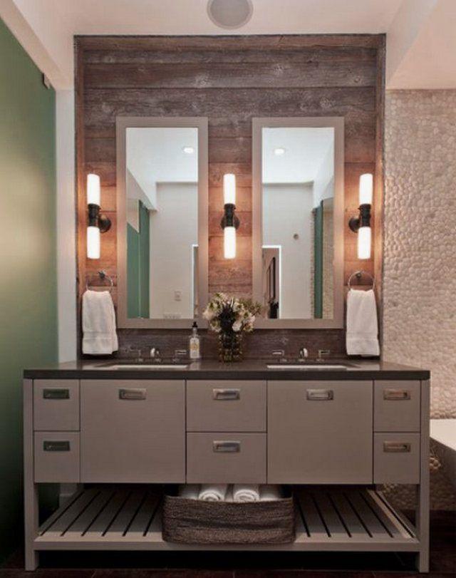 Bathroom Ideas, Two Wood Framed Bathroom Mirror With Led Wall Sconces And Double Sinks Grey Bathroom Vanity: Tips to Determine the Framed Bathroom Mirror