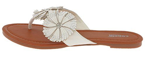 Capelli New York Faux Leather Upper with Pinwheel Ladies Flip Flops White 10 ** See this great product.