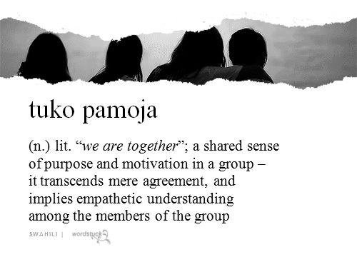 """tuko pamoja (n.) lit. """"WE ARE TOGETHER"""": a shared sense of purpose and motivation in a group - it transcends mere agreement, and implies empathetic understanding among the members of the group  