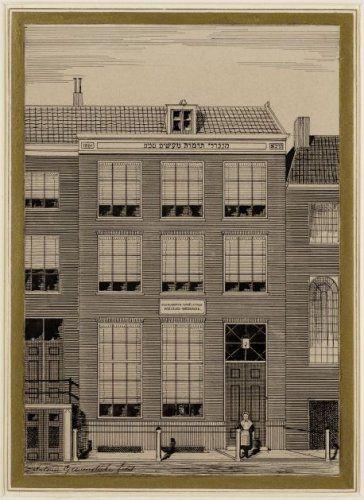 De voorgevel van het Nederlandsch-Israëlitisch Meisjesweeshuis aan de Rapenburgerstraat 171 A. Grevenstuk (tekenaar) 1880-1900 Collectie Stadsarchief Amsterdam #NoordHolland #Amsterdam #wezen #joods