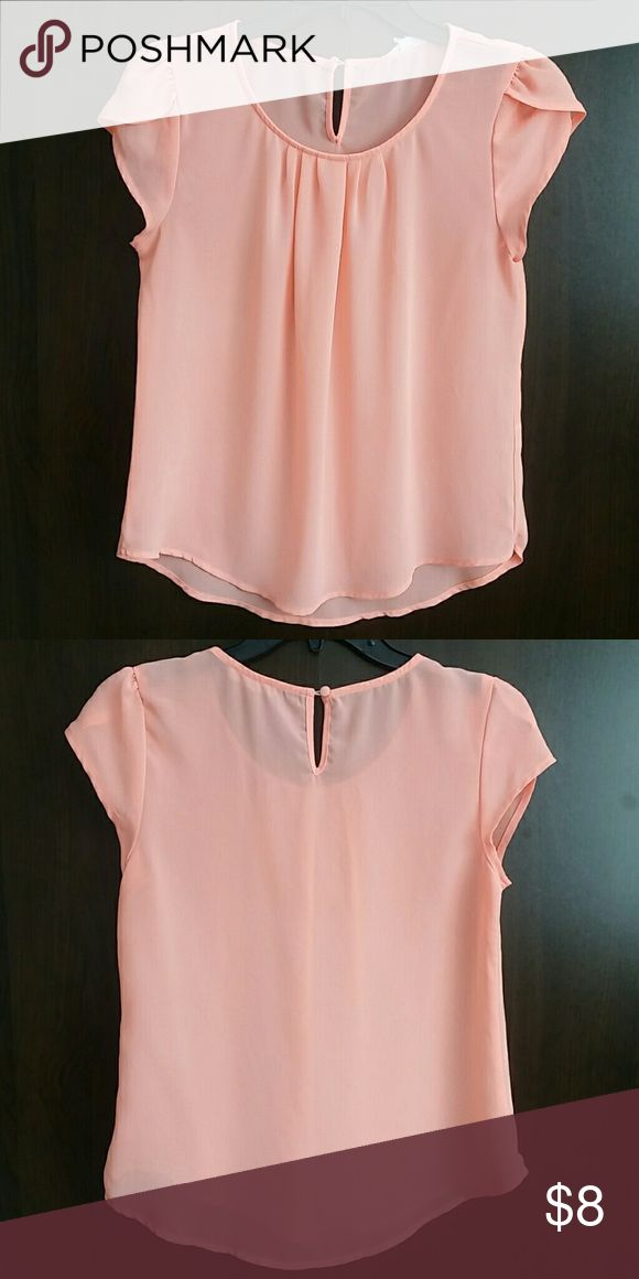 Chiffon Coral Blouse Bright coral chiffon blouse. Small keyhole in the back.   17 inch bust, 12 inches in front and 16.5 inches at back from arm pit to hem.  ?Feel free to make an offer using the offer link?  ?No Trades? Tops Blouses
