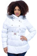 Plus Size Hooded Belted Puffer Coat White
