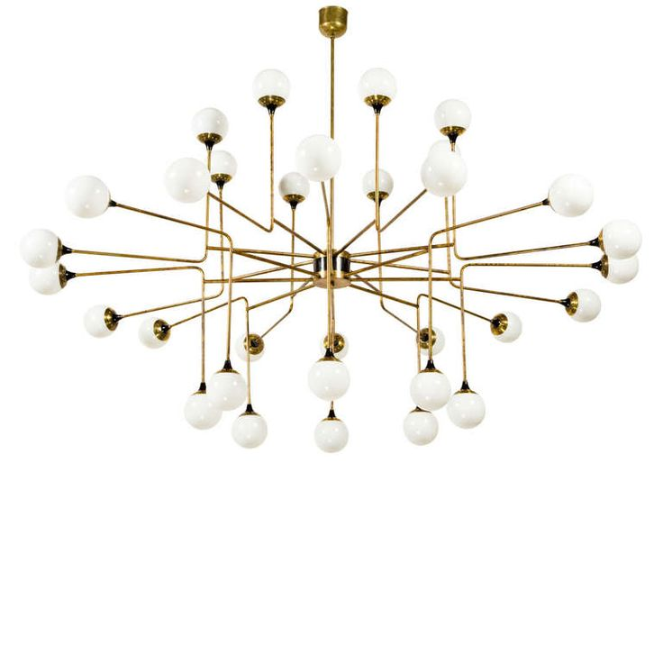 Rare 32 Globe  Stilnovo Chandelier | From a unique collection of antique and modern chandeliers and pendants  at https://www.1stdibs.com/furniture/lighting/chandeliers-pendant-lights/
