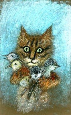 by Józef Wilkoń for Kot z wróblami, 1984