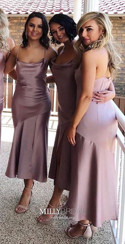 afb06e859162 Tea-length Bridesmaid Dresses Pink