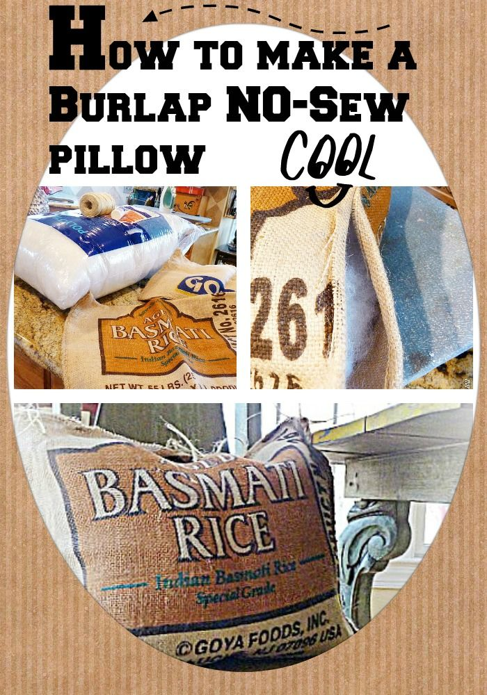 How to make a #Burlap pillow easy 1,2, 3. And it's NO sew!