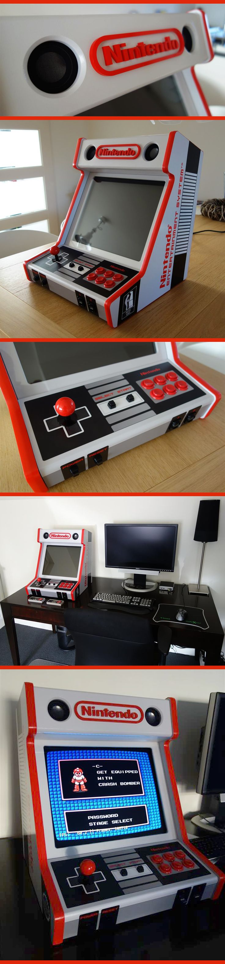 Custom Made NES Bartop Arcade Cabinet, super nostalgic retro Nintendo style via ArcadeControls forums user edekoning                                                                                                                                                      Mais