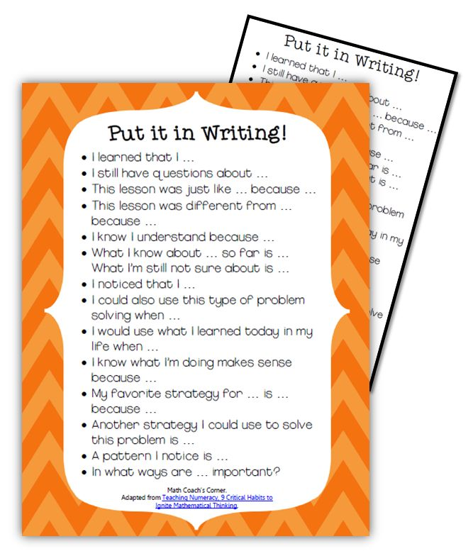 Math Coach's Corner Book Study Monday: Teaching Numeracy, Critical Habit 7-a printable of  journaling stems