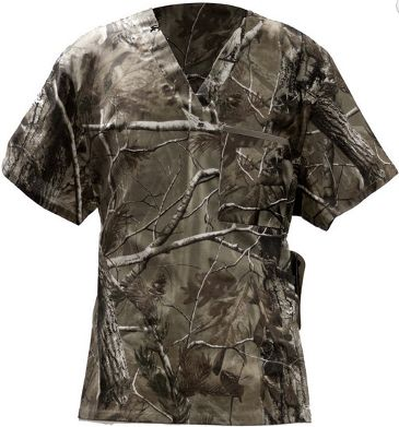 Camo Scrub Top with Real tree fabric for Men and Women
