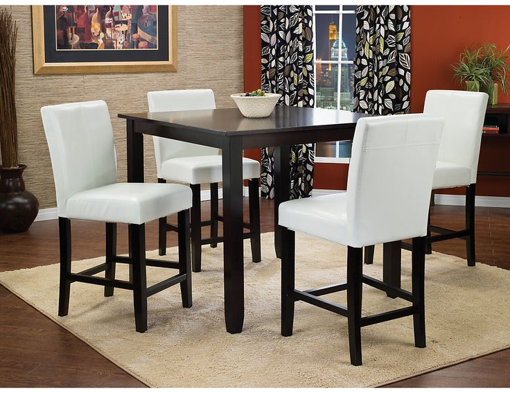 Nicole 5 Piece Counter Height Dining Package With White Chairs BMF