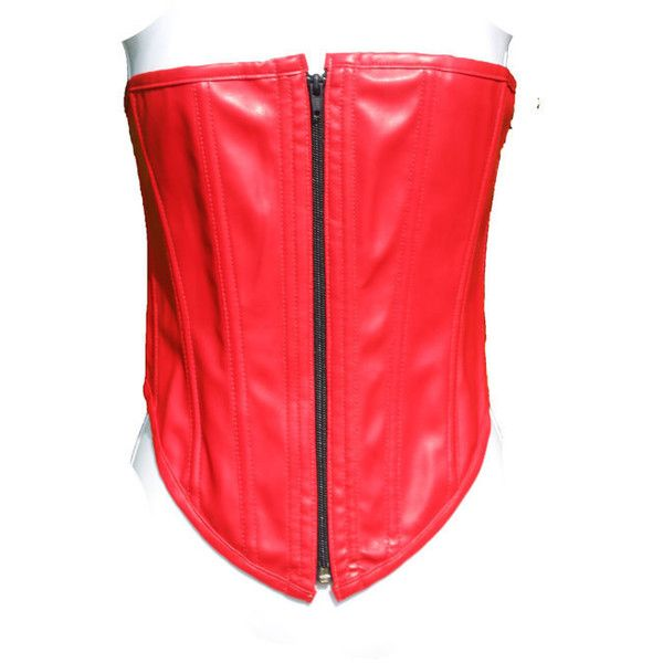 Vintage red pvc corset Faux Leather bandeau zip front matte top... ($35) ❤ liked on Polyvore featuring tops