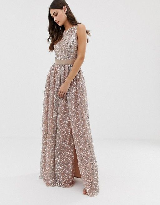 f04fff66aad306 Maya allover contrast tonal delicate sequin dress with satin waist in taupe  blush Roze Toga