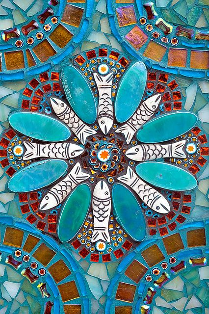 """""""Abundance"""" mandala center back detail by Doreen Bell Mosaic"""