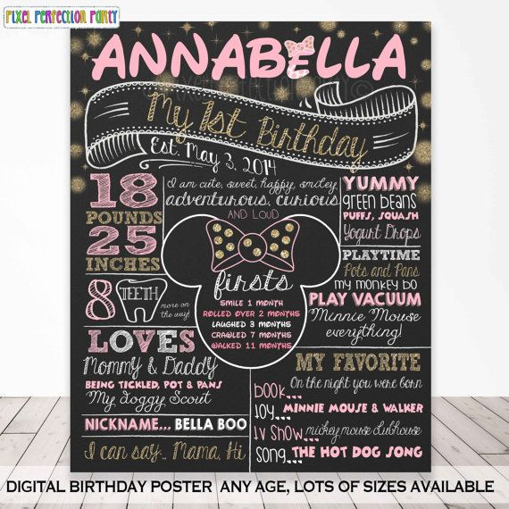 Minnie Mouse Chalkboard Poster Minnie Pink by PixelPerfectionParty