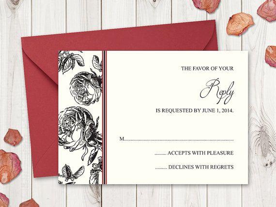 Black Roses Wedding RSVP Card Template by Shishko Templates. DIY Vintage Style Printable Response Cards