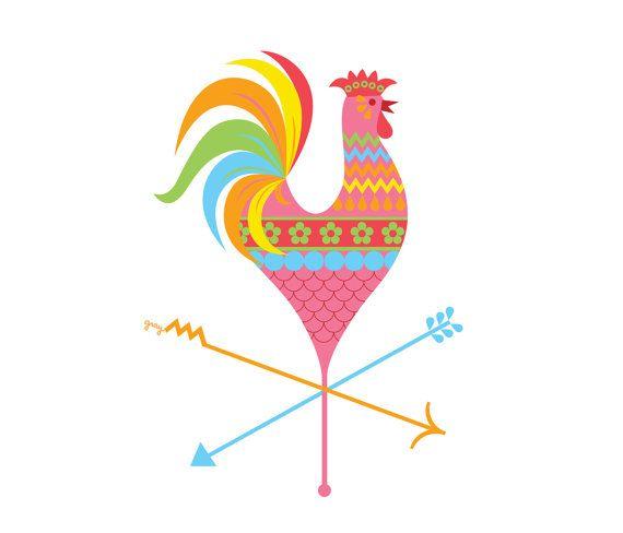 Chicken Kitchen Logo rooster decor, chicken art, boho decor, kitchen wall art, retro