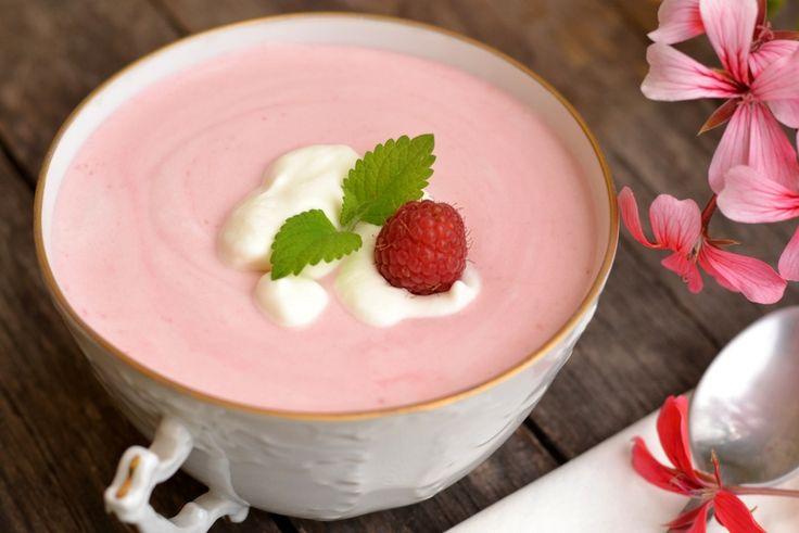 Joghurtos-tejszínes málnaleves recept