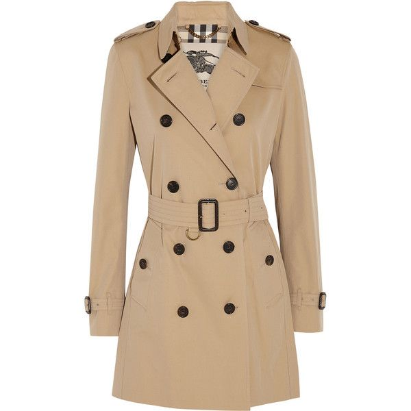 Burberry London The Kensington Mid cotton-gabardine trench coat ($1,800) ❤ liked on Polyvore featuring outerwear, coats, jackets, burberry, casacos, brown, cotton coat, beige trench coat, double breasted coat and gabardine coat