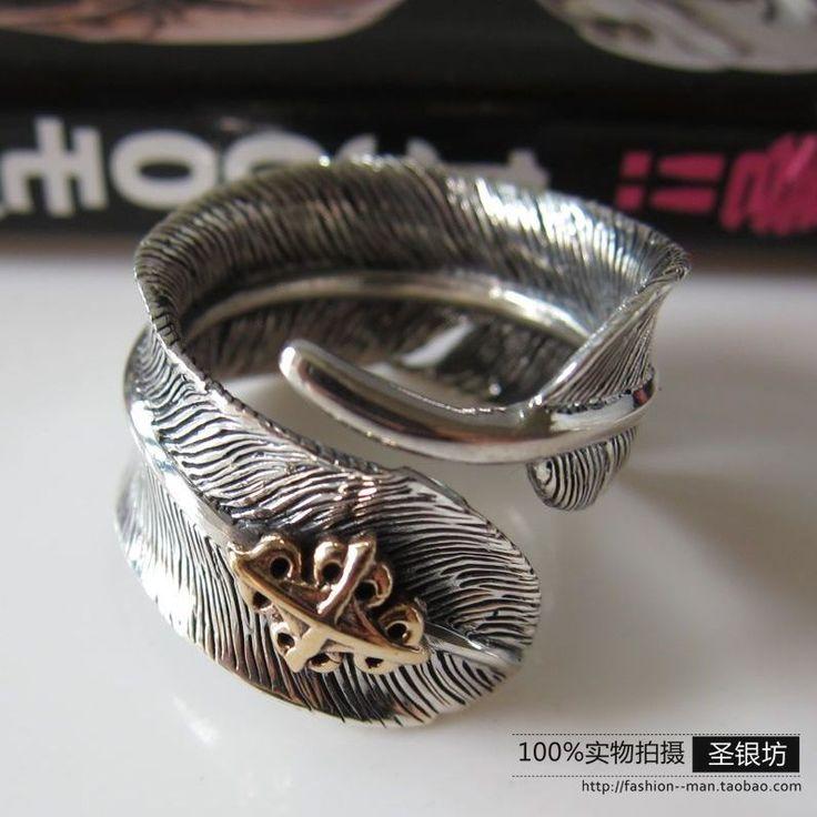Серебро перо кольцо 925 чистого серебро палец кольцо винтажный тайский серебро антикварный