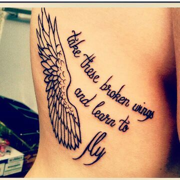 wing tattoo with words take these broken wings and learn to fly
