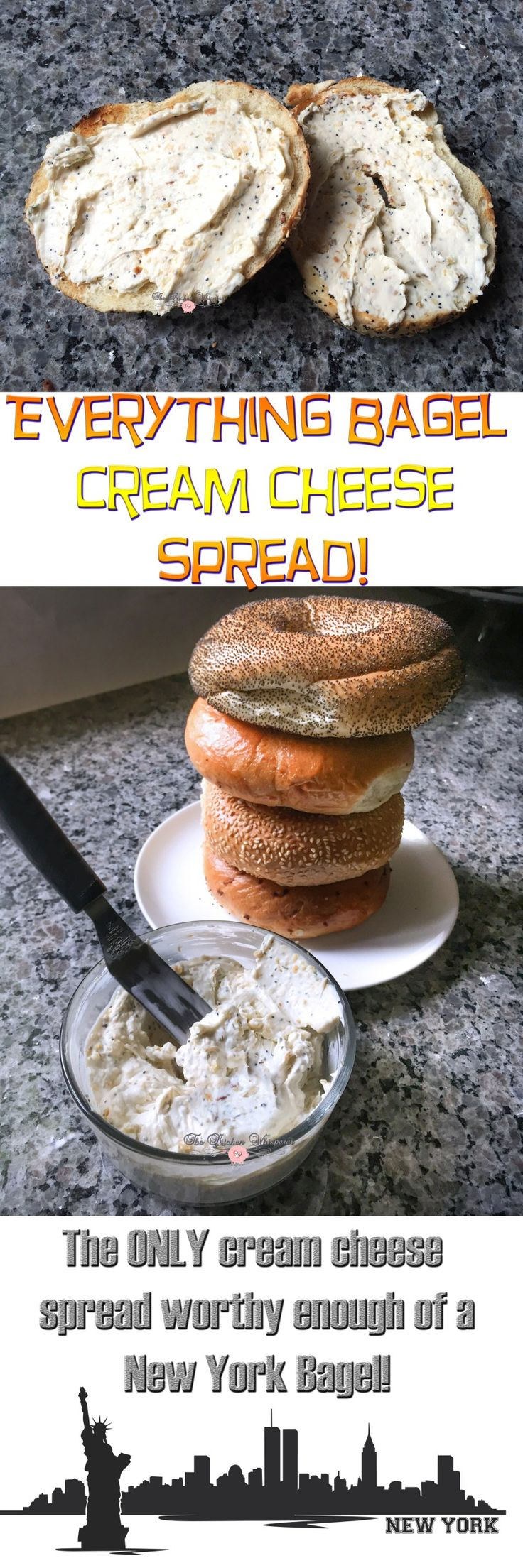 The ONLY Everything Bagel Cream Cheese spread worthy of a New York Bagel!  Plus this is awesome as a veggie dip, stuffed in chicken or used as a condiment!
