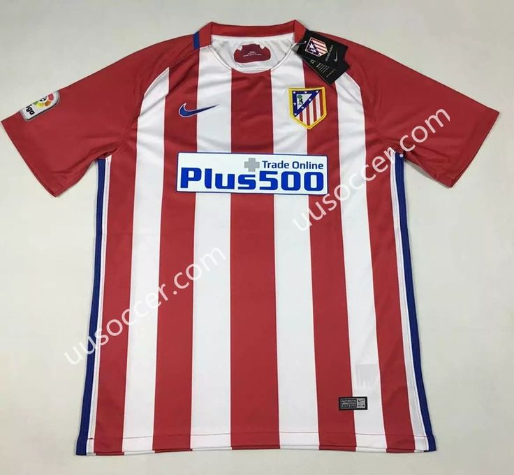 Without LFP 2016-17 Atletico Madrid Home Red and White Thailand Soccer Jersey AAA