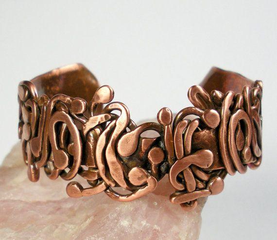 Copper Cuff Bracelet- Hammered Copper Cuff, Womens Copper, Free Form Forged Copper Antique Patina, - Scrolling Wood Vine