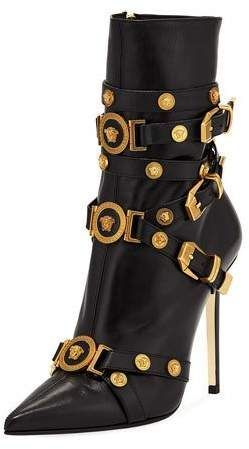 "Versace Collection Tribute Medallion Buckle Bootie - Versace Collection leather bootie with golden medallion studs. 4.3"" covered stiletto heel. Pointed toe. Multiple buckle straps at vamp #boots #womensshoes #stilettoheelspointed"