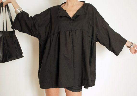 Oversized Blouse - Loose Black Shirt -  Maxi Shirt - Plus Size Boho Clothing - Black Loose Fit - Black Clothing XXL - Wide Blouse - Cotton