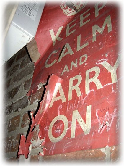 Original Keep Calm and Carry On Poster from WWII. Keep Calm and Carry On was a motivational poster produced by the British government in 1939 several months before the beginning of the Second World War, intended to raise the morale of the British public in the aftermath of widely predicted mass air attacks on major cities. Rediscovered in year 2000.