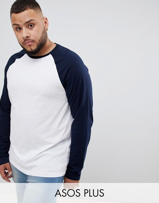 53c53650 DESIGN Plus long sleeve t-shirt with contrast raglan sleeves in 2019 | Cat  Fairy's Big and Tall Mens Fashion Board | Tall men fashion, Mens tops, ...