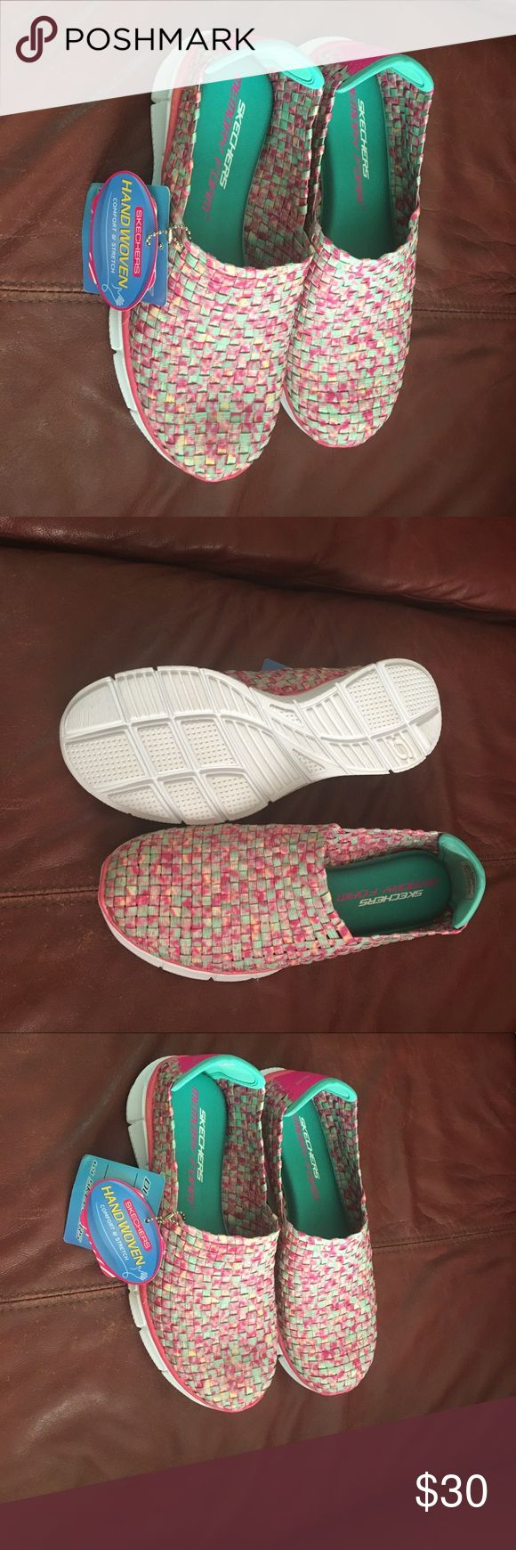 Ladies Skechers pink and green size 7.5 These NWT ladies pink and green Skechers are very comfy and are sized 7.5 but run 1/2 size big! 30.00 Skechers Shoes Sneakers
