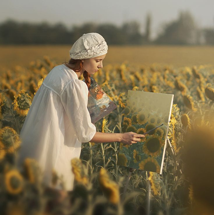 Painting a field of sunflowers.