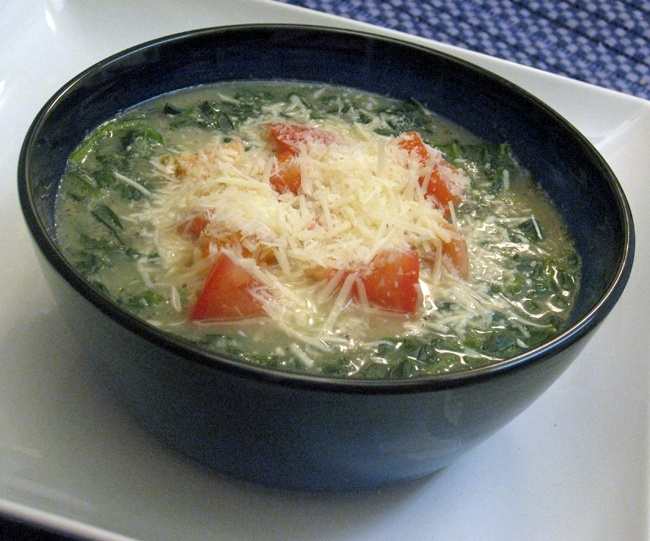 Italian-Style Spinach Soup (Zuppa di Spinaci) | Cooking with Corey. From the eponymous healthy gourmet cookbook, http://cookingwithcorey.info/p/books.html. #cookbook #vegetarian