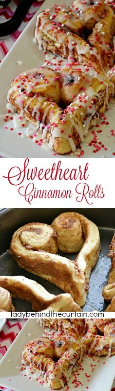 Sweetheart Cinnamon Rolls | Using store bought cinnamon rolls you to can create these fun festive Valentine's Day treats.