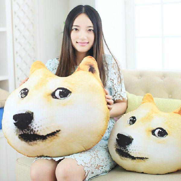 Funyy Plush 3D Printed Samoyed Husky Doge Dog Throw Pillow Alaska Dog Cushion