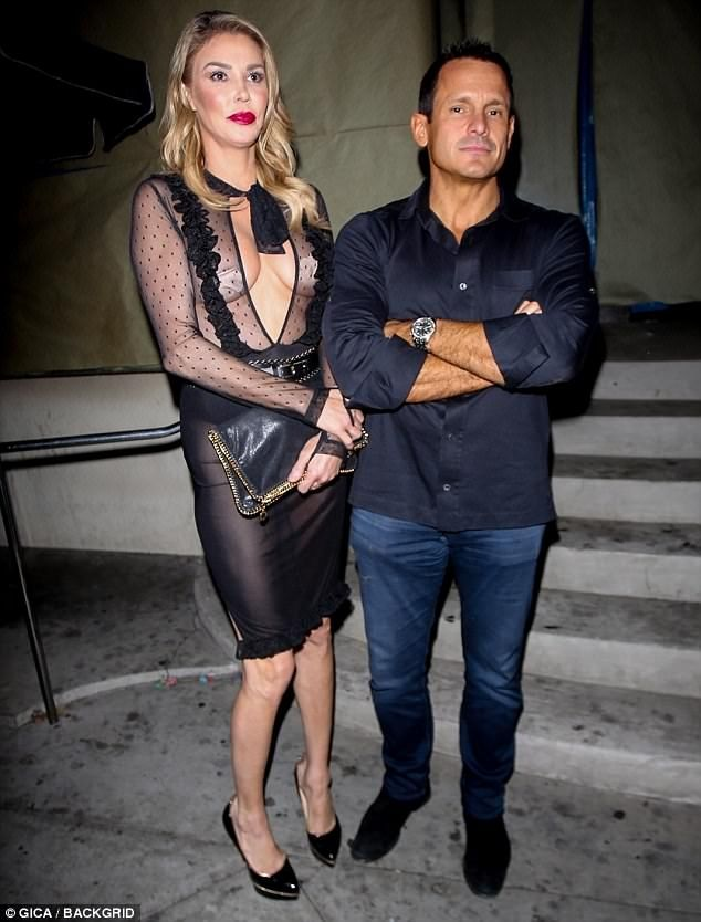 Brandi Glanville.. House of CB 'Karlotta' black sheer mesh polka dot two piece..