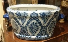 """Good size early nineteenth century Chinese export porcelain punch bowl or wash bowl. This bowl is of course hand made, interestingly it has transfer printed exterior design with hand painted interior decoration with fun images of fish and other underwater creatures which must have been quite a talking point when it was new.  Chinese circa 1810 £650  43cm / 17"""" wide 26cm / 10"""" deep 20cm / 8"""" high"""