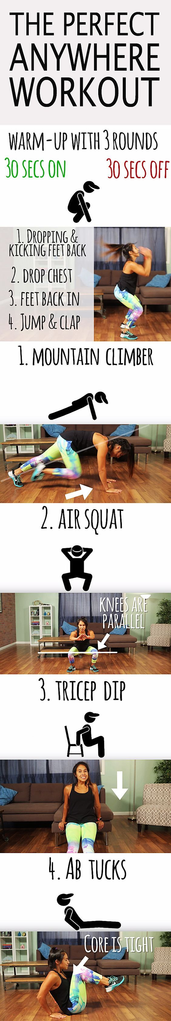 The perfect anywhere workout. Tight on space and time? Do this anywhere, anytime. Start with the warm up and then do 4 rounds with 15 reps of each exercise.