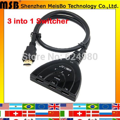Multimedia Version 1.4 1080p AV Signal adapter 3 into 1 HDMI hub switch male to female HDMI splitter for DVD SKY-STB PS3 Xbox6