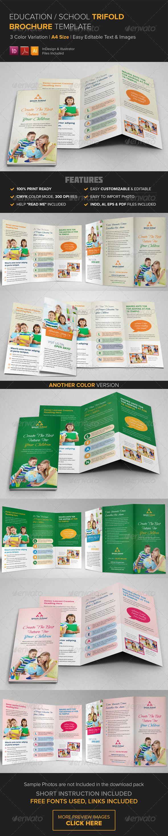 Education School Trifold Brochure Template