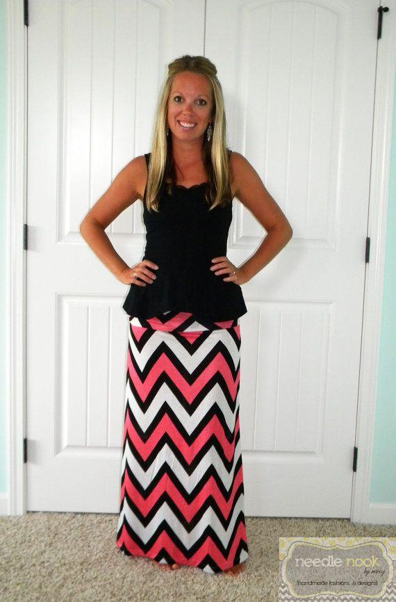 The Large Print Chevron Maxi Skirt  Women's by needlenookbymarcy, $34.00