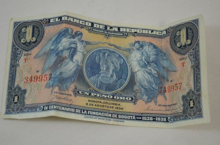 Colombia 1 Un Peso Oro 1938 El Banco De La Republica Colombian Paper Note Money